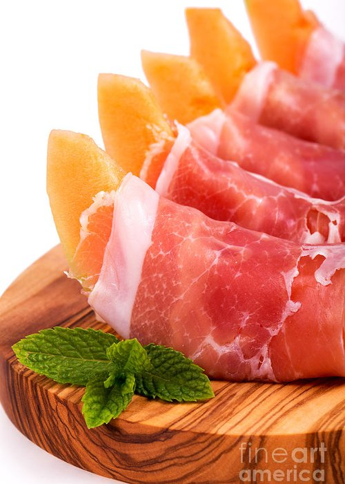 Melon Greeting Card featuring the photograph Parma Ham And Melon by Jane Rix