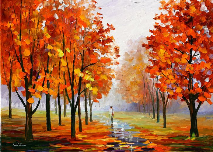 Pink Greeting Card featuring the painting Pink Fog by Leonid Afremov