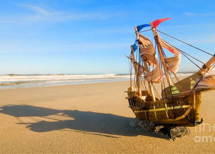 Beach Greeting Card featuring the photograph Ship Model On Summer Sunny Beach by Michal Bednarek