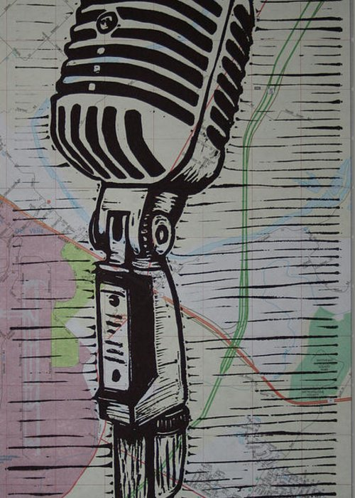 Mic Greeting Card featuring the drawing Shure 55s On Map by William Cauthern