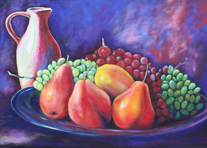 Fruit Greeting Card featuring the painting Simple Abundance by Eve Wheeler
