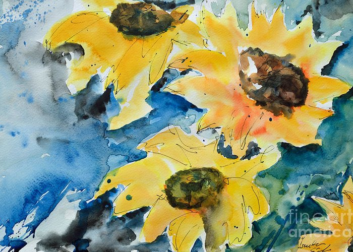 Sunflower Greeting Card featuring the painting Sunflowers by Ismeta Gruenwald