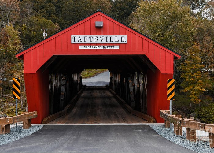 Bridge Greeting Card featuring the photograph Taftsville Covered Bridge Vermont by Edward Fielding