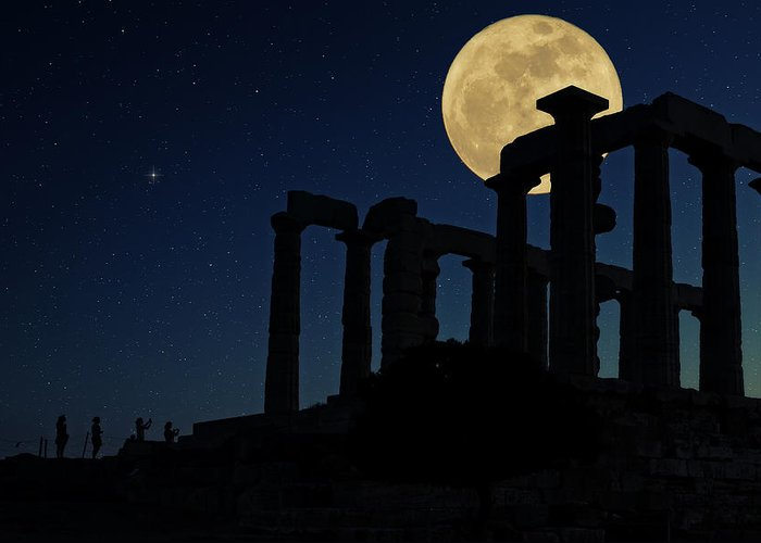 Agios Isidoros Greeting Card featuring the photograph Temple Of Poseidon by Emmanuel Panagiotakis