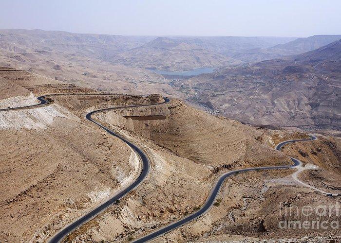 Wadi Mujib Greeting Card featuring the photograph The Kings Highway At Wadi Mujib Jordan by Robert Preston