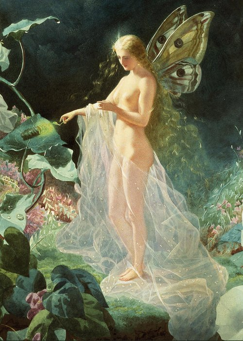 A Midsummer Night's Dream; Queen; Fairy; Nude; Female; Gossamer; Dewdrops; Lighting Taper; Glow Worm; Star; Titania; John; Simmons; John Simmons; Watercolour; Watercolor; Gouache; Ethereal; Angelic; Angel; Fantasy; Magic; Light; William; Shakespeare; William Shakespeare; Titania; Flowers; Floral; Garden; Flower; Feminine; Woman; Body; Female Body; Sheer; Heaven; Heavenly; Gossamer; Unearthly; Unworldly; Magical; Radiant; Supernatural; Pixie; Mythical; Myth; Mythological; Mythology; Legend; Lore Greeting Card featuring the painting Titania by John Simmons