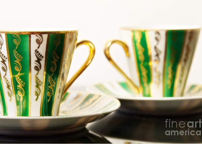 Coffee Greeting Card featuring the photograph Two Coffee Cups by Aleksey Tugolukov