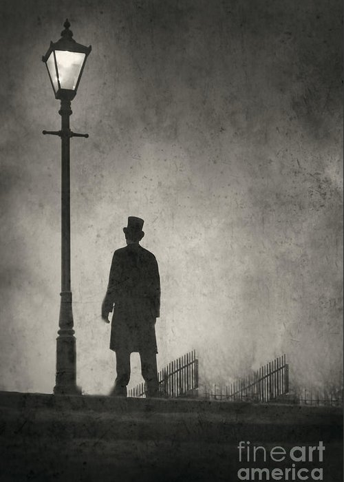 Victorian Greeting Card featuring the photograph Victorian Man Standing Next To An Illuminated Gas Lamp by Lee Avison
