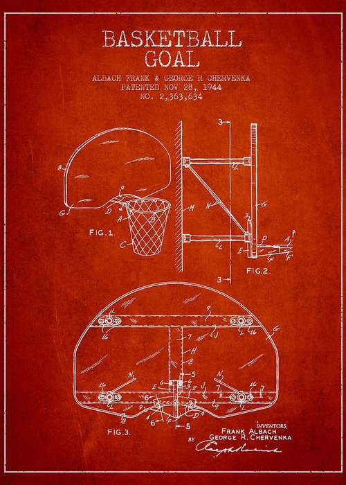 Hoop Patent Greeting Card featuring the drawing Vintage Basketball Goal Patent From 1944 by Aged Pixel