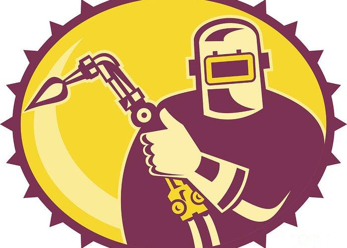 Welder Greeting Card featuring the digital art Welder Worker Welding Torch Retro by Aloysius Patrimonio