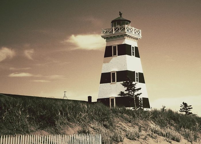 Lighthouse Greeting Card featuring the photograph West Point's Light by Meg Lee Photography