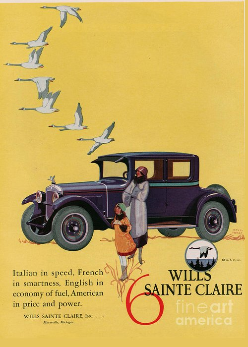 Adverts Greeting Card featuring the drawing Wills Sainte Claire 1925 1920s Usa Cc by The Advertising Archives