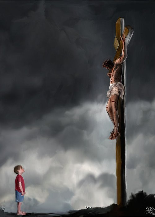 Mark Spears Art Greeting Card featuring the painting Yes Jesus Loves Me by Mark Spears