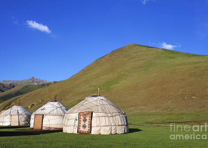 Tash Greeting Card featuring the photograph Yurts In The Tash Rabat Valley Of Kyrgyzstan by Robert Preston
