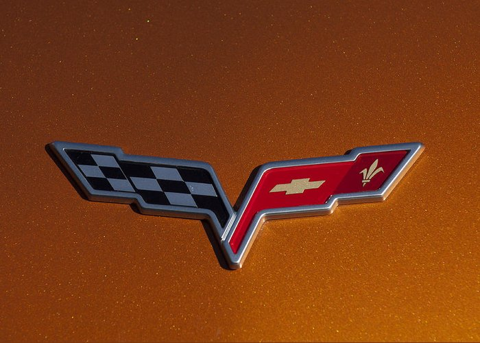 2007 Chevrolet Corvette Indy Pace Car Greeting Card featuring the photograph 2007 Chevrolet Corvette Indy Pace Car Emblem by Jill Reger