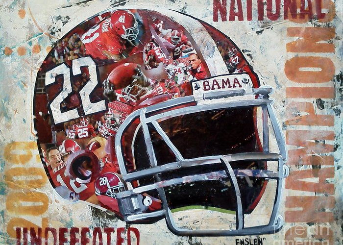 University Of Alabama Greeting Card featuring the mixed media 2009 Alabama National Champions by Alaina Enslen