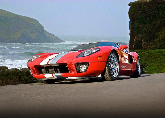 Auto Greeting Card featuring the photograph 2011 Ford Gt 'cruz'n The Pch' by Dave Koontz