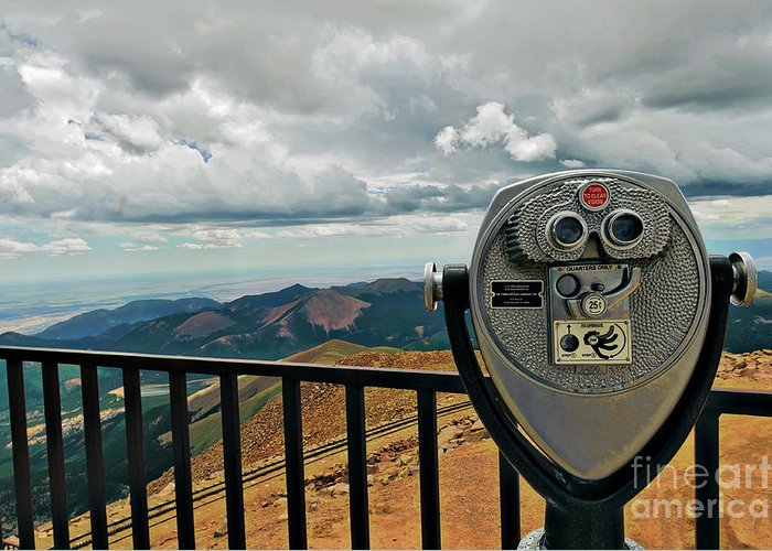 Binoculars Greeting Card featuring the photograph 25 Cent Views by Charles Dobbs
