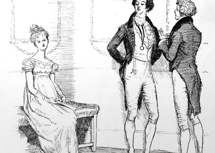 She Is Tolerable; Illustration; Pride And Prejudice; Jane Austen; Illustrated; Edition; Mr; Darcy; Slighting; Slighted; Elizabeth Bennet; Meryton Assembly; Dance; Offended; Lovers; Couple; First Greeting Card featuring the drawing Scene From Pride And Prejudice By Jane Austen by Hugh Thomson