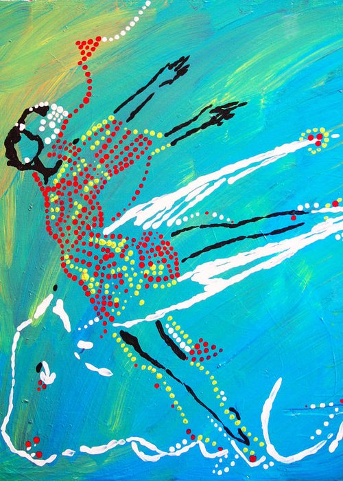 Jesus Greeting Card featuring the painting Dinka Dance - South Sudan by Gloria Ssali