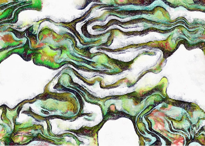 Watercolour Greeting Card featuring the painting Colorful Abstract Forms by Odon Czintos