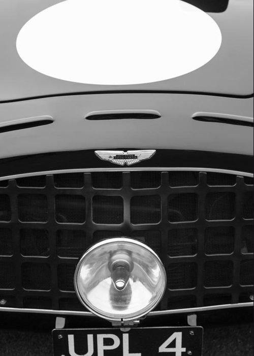 1952 Aston Martin Db3 Sports Hood Emblem Greeting Card featuring the photograph 1952 Aston Martin Db3 Sports Hood Emblem by Jill Reger