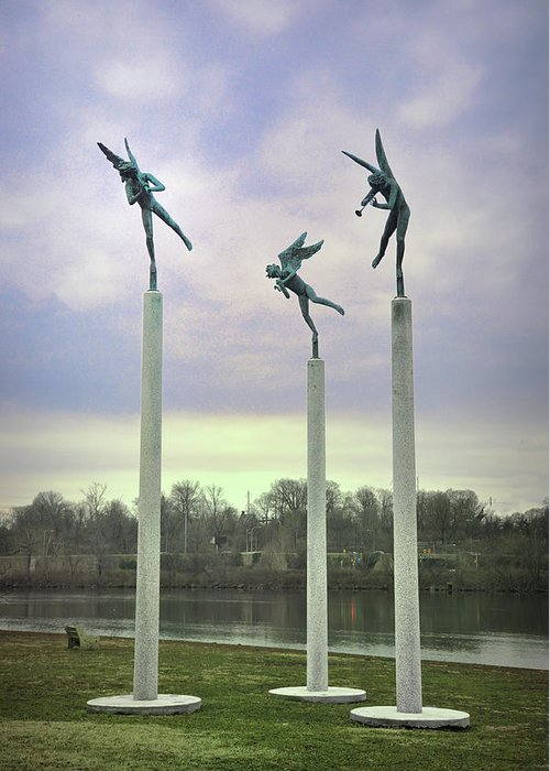 3 Greeting Card featuring the photograph 3 Angels Statue Philadelphia by Bill Cannon