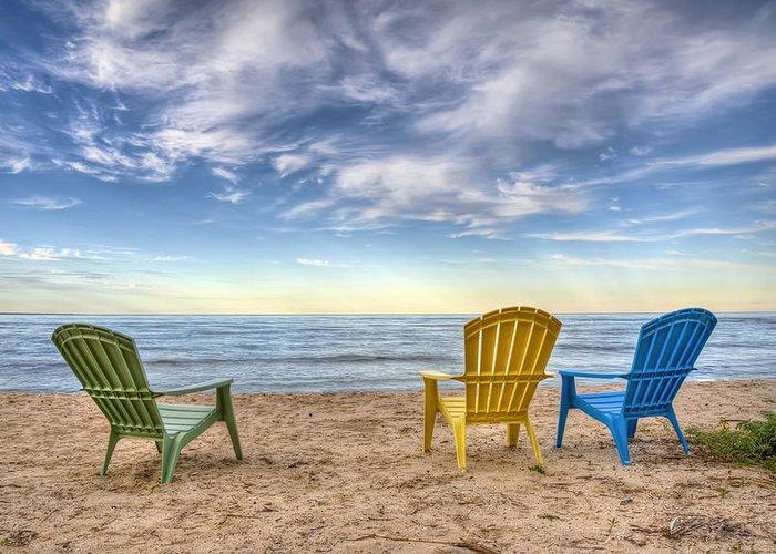 Chairs Greeting Card featuring the photograph 3 Chairs by Scott Norris