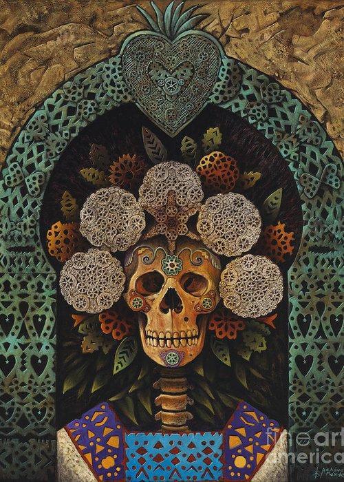 Dia-de-muertos Greeting Card featuring the painting Dia De Muertos Madonna by Ricardo Chavez-Mendez