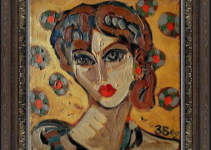 People Greeting Card featuring the painting Girl by Zdravko Batembergski