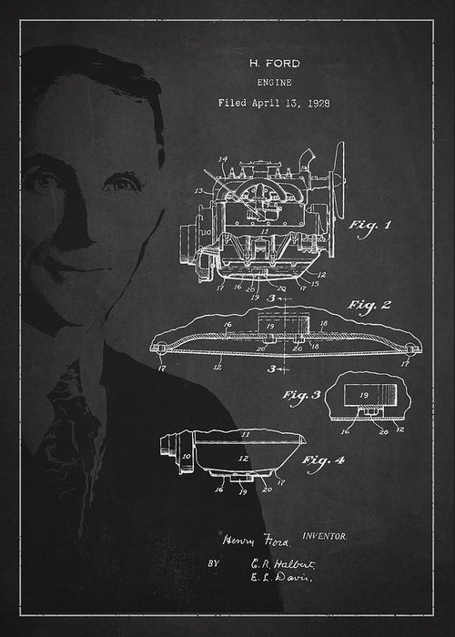 Henry Ford Greeting Card featuring the drawing Henry Ford Engine Patent Drawing From 1928 by Aged Pixel