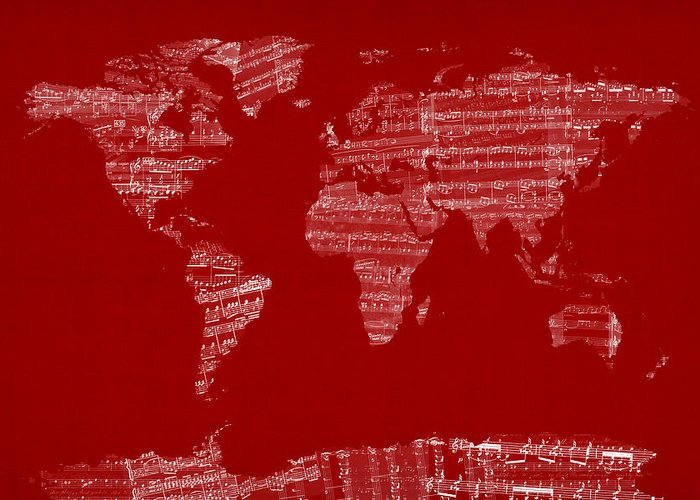 World Map Greeting Card featuring the digital art Map Of The World Map From Old Sheet Music by Michael Tompsett