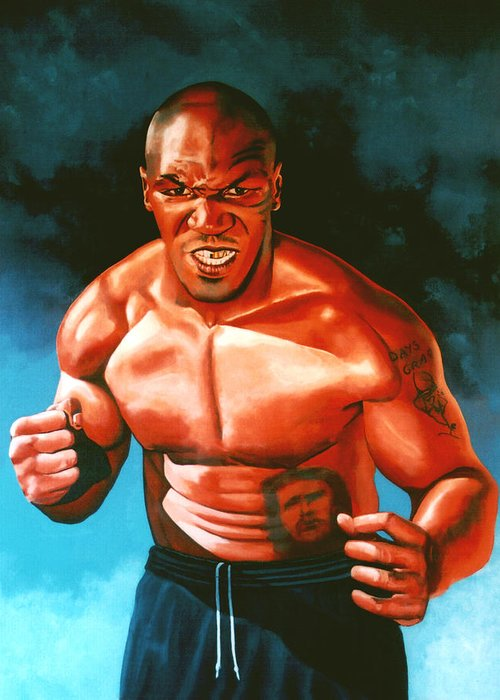 Mike Tyson Greeting Card featuring the painting Mike Tyson by Paul Meijering