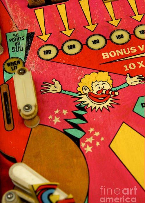 Indoors Greeting Card featuring the photograph Pinball Machine by Bernard Jaubert