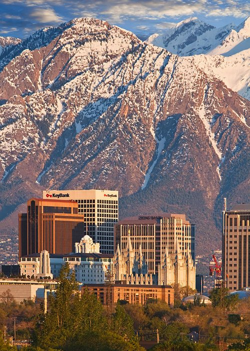 Salt Lake City Greeting Card featuring the photograph Salt Lake City Skyline by Utah Images