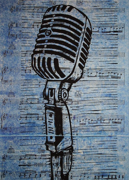 Mic Greeting Card featuring the drawing Shure 55s On Music by William Cauthern