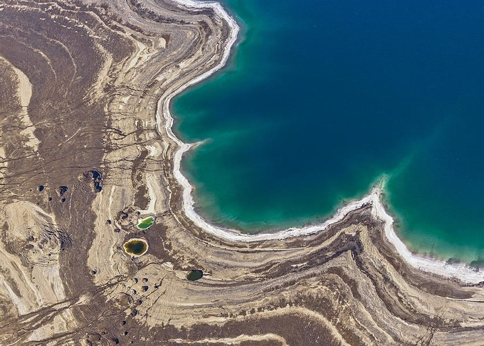 Earth Greeting Card featuring the photograph Sinkholes In Northern Dead Sea Area by Ofir Ben Tov