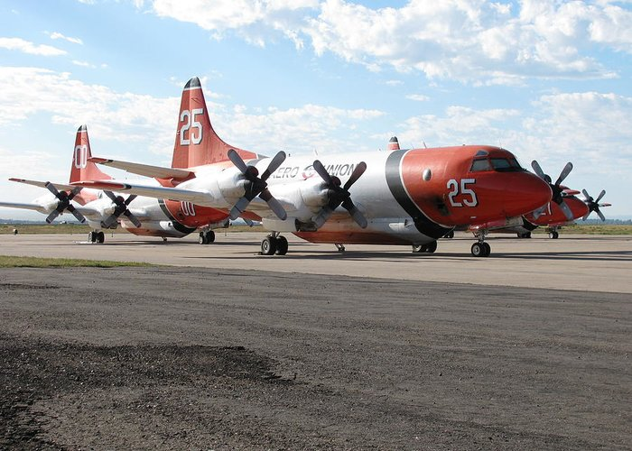 Transportation—plane Greeting Card featuring the photograph 3 Slurry Bombers by Steven Parker
