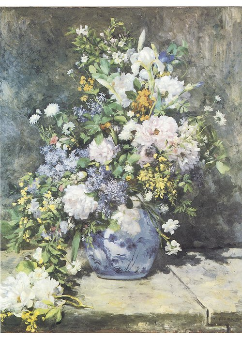 Pierre-auguste Renoir Greeting Card featuring the painting Vase Of Flowers by Pierre-Auguste Renoir