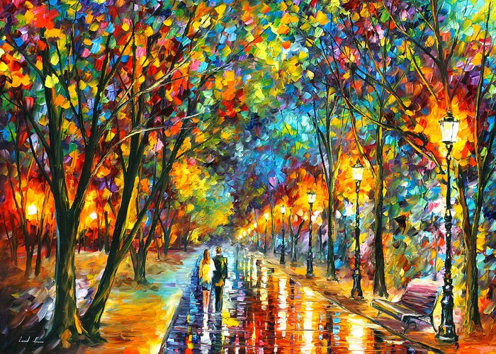 Park Greeting Card featuring the painting When Dreams Come True by Leonid Afremov