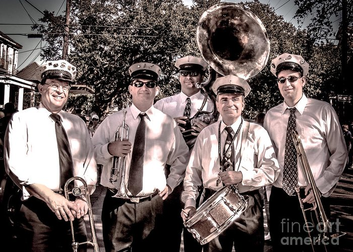 Band Greeting Card featuring the photograph 3rd Line Brass Band by Renee Barnes