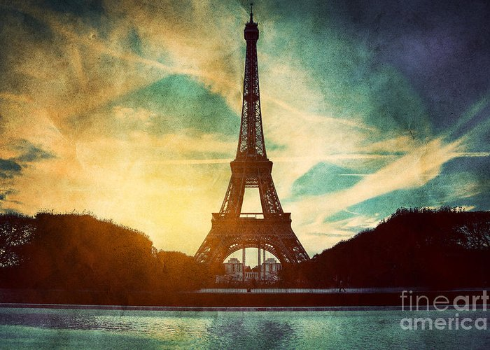 Eiffel Greeting Card featuring the photograph Eiffel Tower In Paris Fance In Retro Style by Michal Bednarek