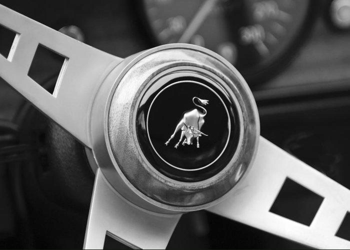 Lamborghini Steering Wheel Emblem Greeting Card featuring the photograph Lamborghini Steering Wheel Emblem by Jill Reger