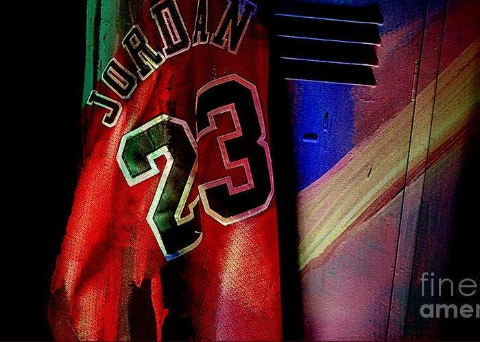 Michael Jordan Greeting Card featuring the mixed media Michael Jordon by Marvin Blaine