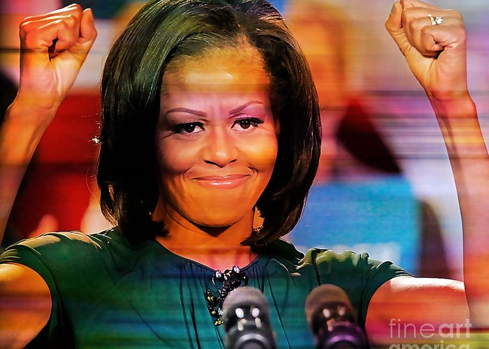 Michelle Obama Photographs Greeting Card featuring the mixed media Michelle Obama by Marvin Blaine