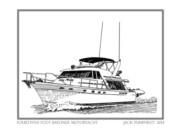 Yacht Portraits Greeting Card featuring the photograph 45 Foot Bayliner Motoryacht by Jack Pumphrey