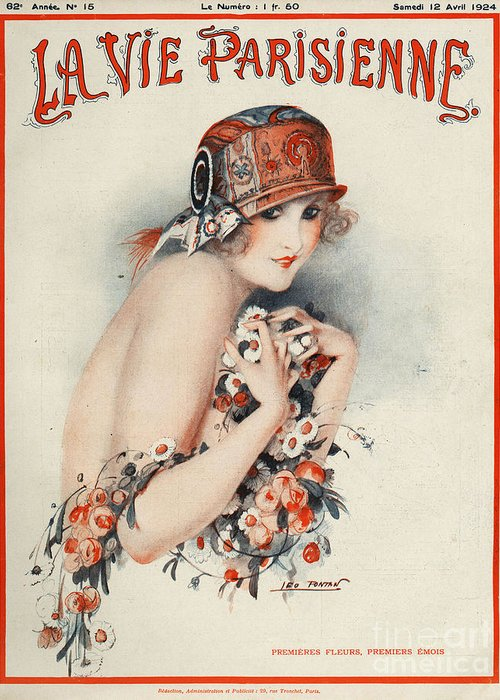 Covers Greeting Card featuring the drawing La Vie Parisienne 1924 1920s France by The Advertising Archives