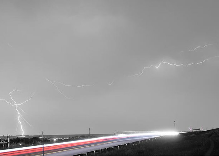 Lightning Greeting Card featuring the photograph 47 Street Lightning Storm Light Trails View Panorama by James BO Insogna