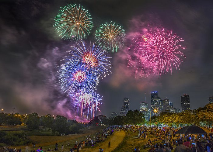 4th Greeting Card featuring the photograph 4th Of July In Houston Texas by Micah Goff