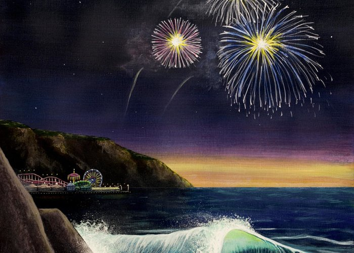Amusement Pier Greeting Card featuring the painting 4th On The Shore by Jack Malloch